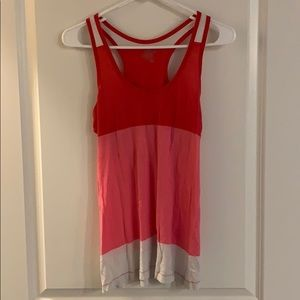 Red, pink and white striped tank